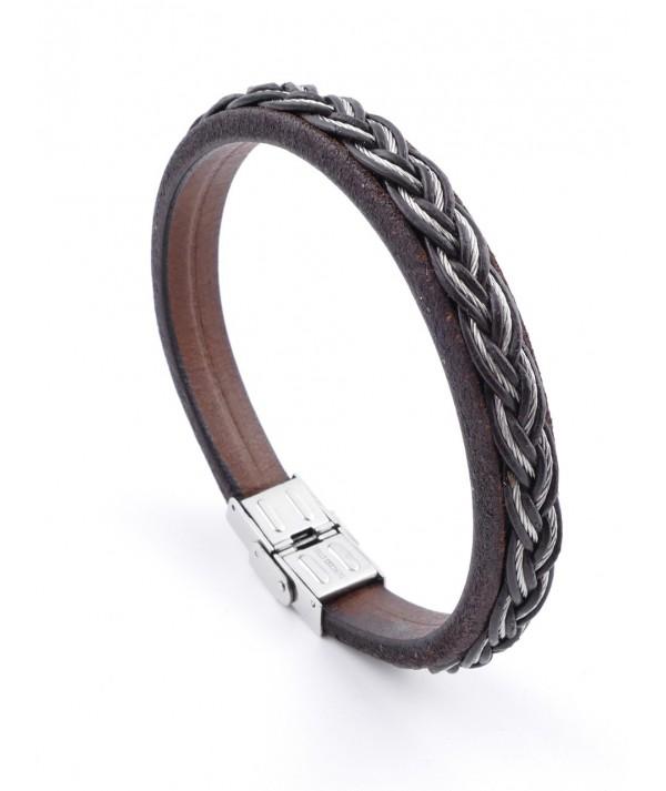 Pulsera de alambre de acero inoxidable y cuero para hombres
