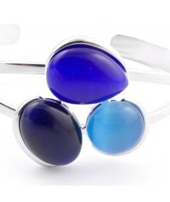 Rhodium plated brass cuff bracelet with cat's eye stones